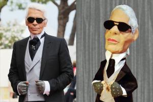 Figura de papel maché de Karl Lagerfeld
