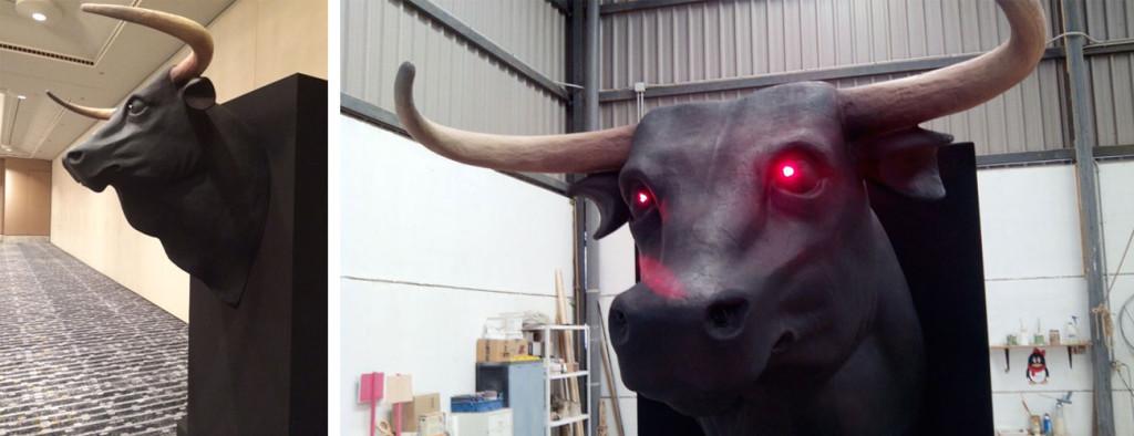 Cabeza de toro de escenografía