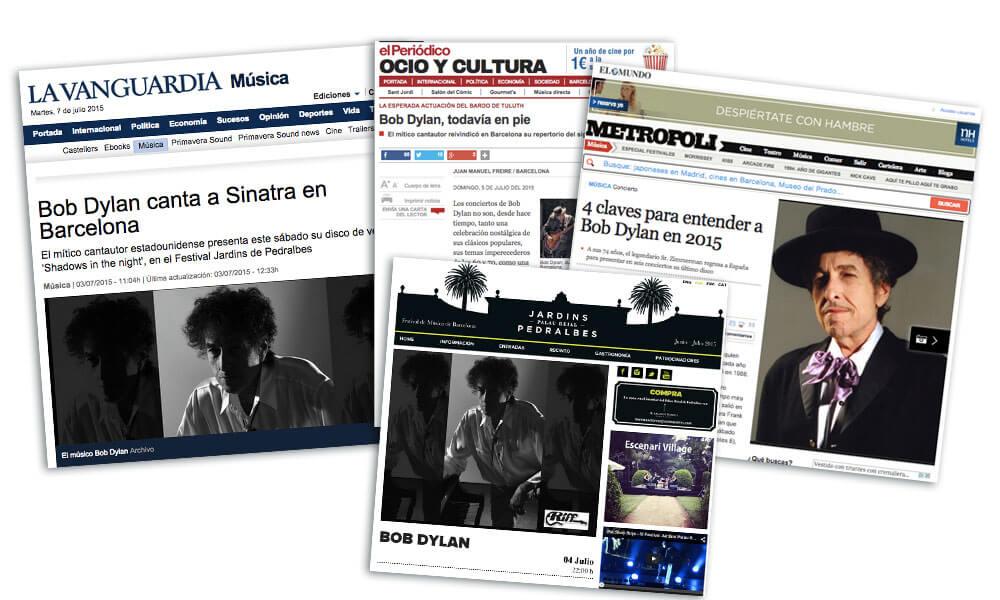 Bob Dylan en concierto en Barcelona - figuras de papel maché