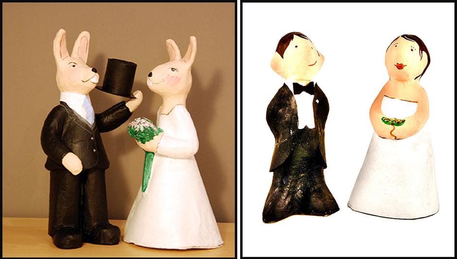 Figuras personalizadas de papel maché para bodas